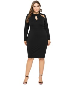 Fashion Women's Large Size Hollow Sexy Long Sleeves Pack-Hip Pure Color Dress Night Dresses l black
