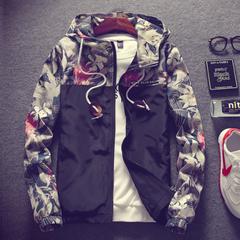 Men clothes Plus Size Floral Men Jacket Hip Hop Bomber Slim Fit Flowers Pilot Coat Hooded-black black l