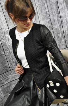 New PU stitching casual zipper long sleeve chic fashion jacket back m