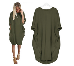 Plus Size Womens Casual Long Tops Dress Pocket Loose Dress Ladies Crew Neck l green