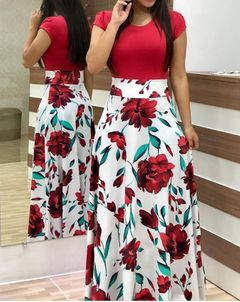 European and American style  print color matching dress long skirt women's clothing l multicolor