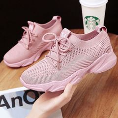 Women shoes fashion woven breathable sports shoes women sneakers pink 38