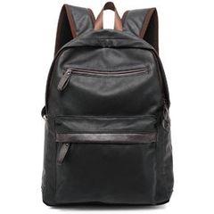casual men's Multifunctional Bags backpack Pu soft leather bag computer bag black