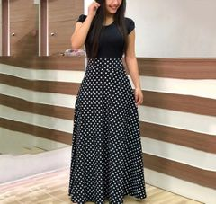 European and American style flower print color matching dress long skirt women's clothing l multicolor