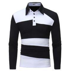 Men clothes Men's Long Sleeve Polo Shirt Striped Autumn Winter Turn-Down Collar black l