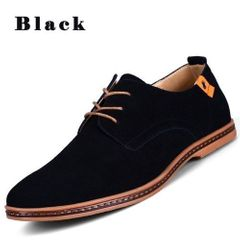 Men shoes frosted plus size casual shoes man formal shoes black 42 leather