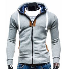 Men's Clothes Colorblock plus size casual men's sweater Jackets & Trench Coats grey Gray XXL