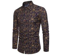 Men's Shirt Stylish Slim Fit Button Down Long Sleeve Floral Shirt black gold l
