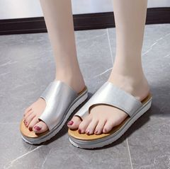 simple open-toed cross strap flat bottom women's slippers all-match casual sandals Silver 40