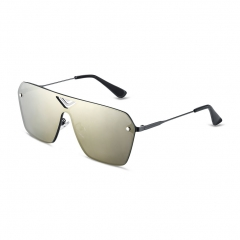 Stylish Male Color Coated Square Frame Sunglasses UV Protection Futuristic Design Slim Arms as the picture