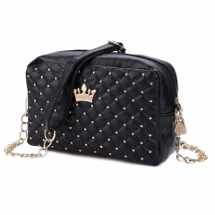 Fashion Vintage Women Evening Messenger Bags Rivet Chain Flap Small Shoulder Bag PU Leather Bags black one size