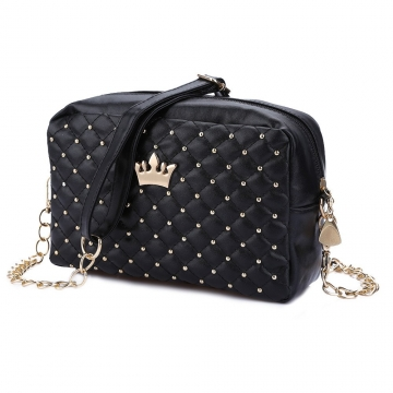 Fashion Vintage Women Evening Messenger Bags Rivet Chain Flap Small Shoulder Bag PU Leather Bags black one size