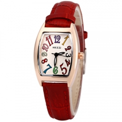 Colorful Number Clock KEZZI Brand Women Quartz Watch Solid Leather Strap Female Watch Rectangle red