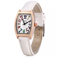 Colorful Number Clock KEZZI Brand Women Quartz Watch Solid Leather Strap Female Watch Rectangle white