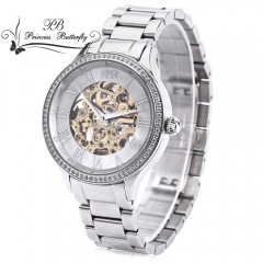 PRINCESS BUTTERFLY Men Auto Mechanical Watch Waterproof 3ATM Sapphire Crystal Mirror Hollow-out Dial silver