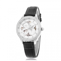 Luxury Princess Butterfly Brand Women Automatic Mechanical Watch Genuine Leather Strap silver