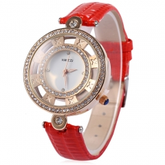 KEZZI Hollow Artificial Diamond Luxury Fashion Female Leather Strap Quartz Watch Relogio Feminino red