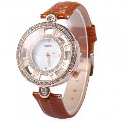 KEZZI Hollow Artificial Diamond Luxury Fashion Female Leather Strap Quartz Watch Relogio Feminino brown