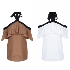 Stylish Halter Neck Backless Flounce Chiffon Women Blouse camel s