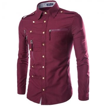 The new long - sleeved shirt men 's fashion trend deduction Slim shirt Red wine M