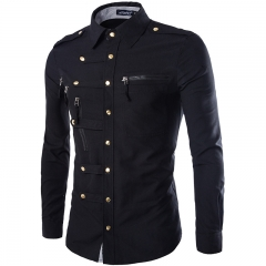 The new long - sleeved shirt men 's fashion trend deduction Slim shirt Black M
