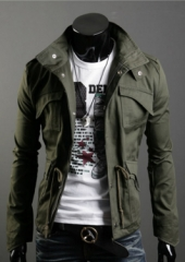 Men badges stand collar cotton large size jacket Armygreen M
