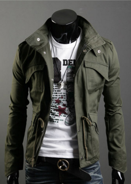 Men badges stand collar cotton large size jacket Armygreen XL