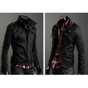 Men badges stand collar cotton large size jacket Black L