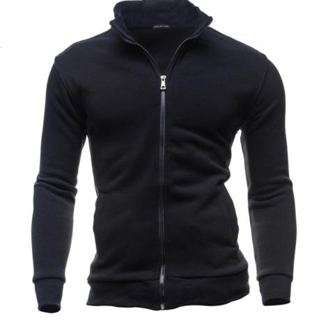 Retro sweater casual sports cardigan Fleece zipper jacket black m