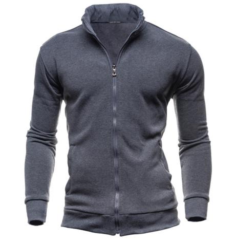 Retro sweater casual sports cardigan Fleece zipper jacket Dark Gray xxl