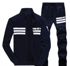 Men 's long - sleeved sports sweater suit dark blue m
