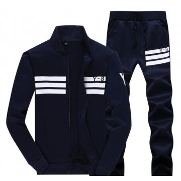Men 's long - sleeved sports sweater suit dark blue m
