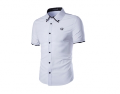 New men's fashion men's ears embroidered single breasted slim shirt white m