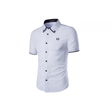 New men's fashion men's ears embroidered single breasted slim shirt white xxl