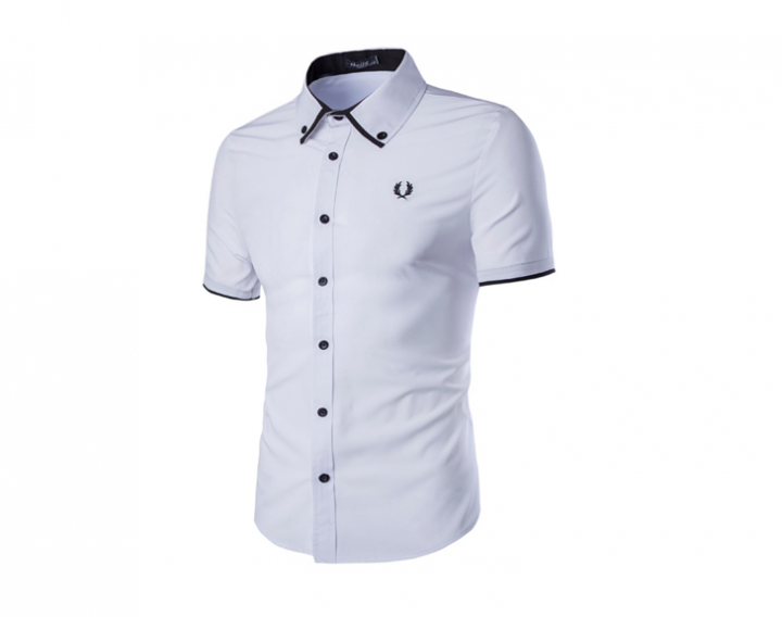 New men's fashion men's ears embroidered single breasted slim shirt white l