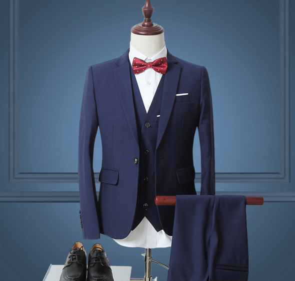 Suit three-piece business casual Slim career suits blue m