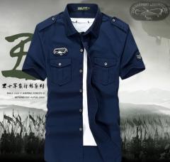 Short-sleeved youth leisure Slim cotton shirt armygreen l
