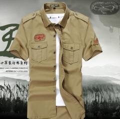 Short-sleeved youth leisure Slim cotton shirt khaki m