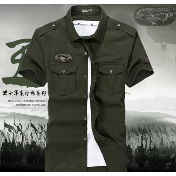 Short-sleeved youth leisure Slim cotton shirt armygreen l