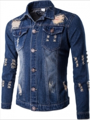 The new denim jacket men's casual wear casual wear dark blue m