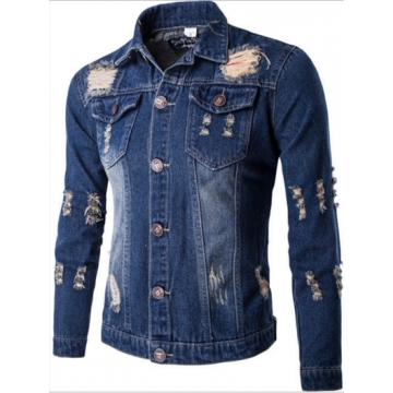 The new denim jacket men's casual wear casual wear dark blue l