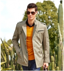 Men 's windbreaker gentry Slim British business long coat windbreaker male khaki m