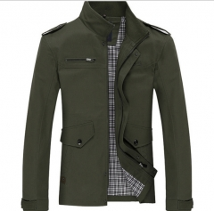 Men 's printing Slim business casual jacket Jeep men' s cotton washed windbreaker jacket armygreen m