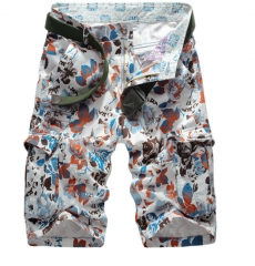 Summer camouflage tooling shorts male leisure sports multi - pocket cotton large yards loose pants red m