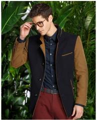 Men 's windbreaker gentry Slim England business long coat windbreaker male stitching navy xl