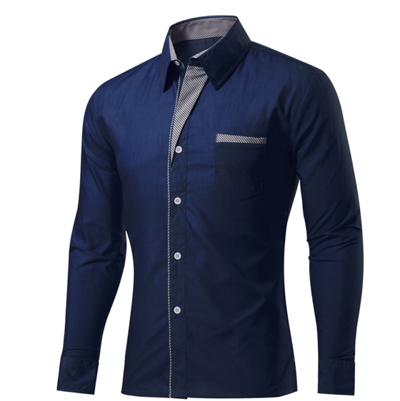 Striped Men 's Shirt Men' s Shirt Long Sleeve Solid Color Slim Shirt navy m