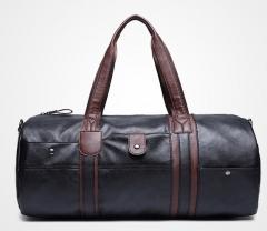The new leisure handbag shoulder bag luggage package cylinder package men 's sports bag black one size
