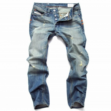 Straight men 's jeans tide men' s big yards retro pants punk hole jeans as the picture 32