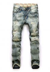 Men 's retro trousers men' s holes straight trousers men tide card beggars frayed jeans as the picture 28