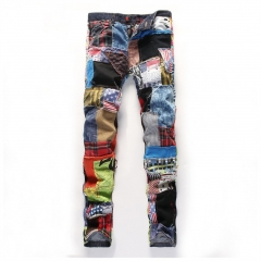 The new trend straight Slim broken hole colorful cloth splicing water washing denim trousers as the picture 28